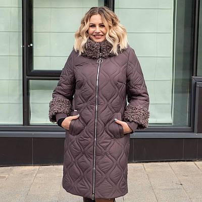 Зимнее женское пальто большого размера  54,58 шоколад