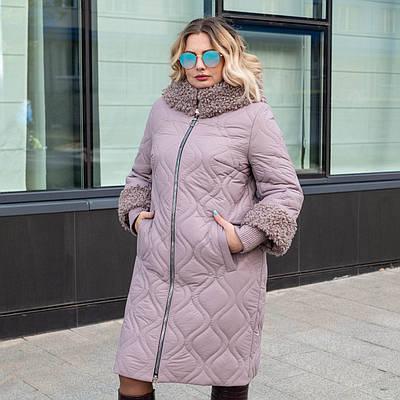 Женские куртки зима  больших размеров 50-60 пудра