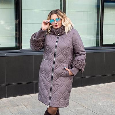 Пальто зимние женские больших размеров  50-60 серый