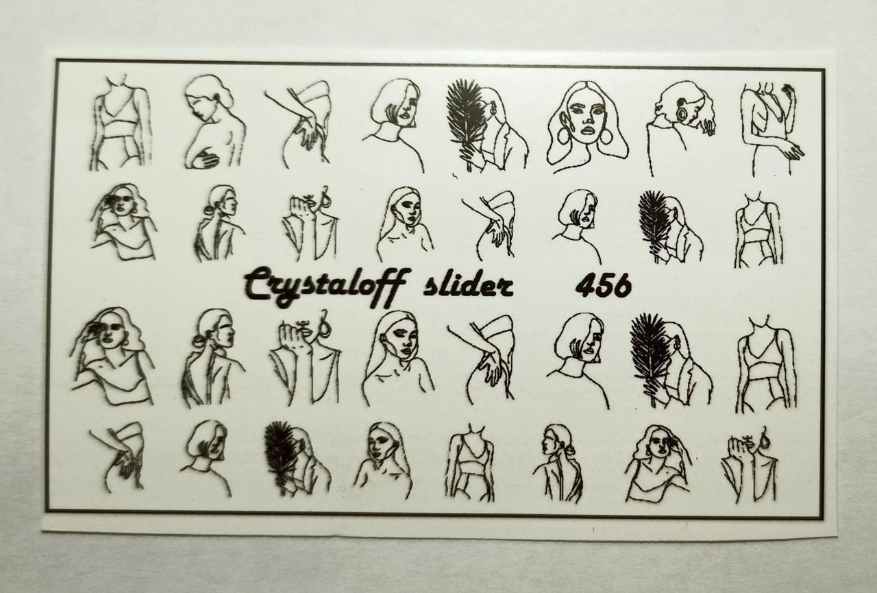 Слайдеры для ногтей Лица Силуэты Девушки - на водной основе Наклейки для ногтей черные Crystaloff Slider
