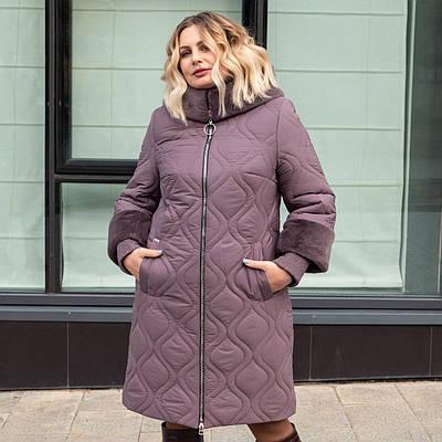 Женские зимние куртки больших размеров  50, 54, 58 темная пудра