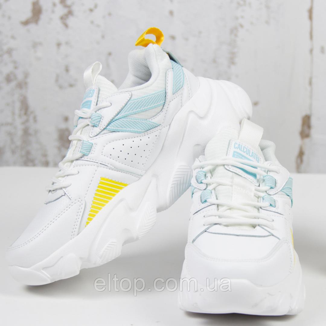 Модные женские кроссовки на платформе белые BaaS Модель L1620-14 размер 36 - 41