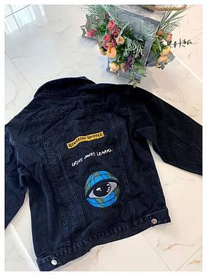 Очень крутая женская джинсовая куртка с нашивками на осень Rise Up, фото 2