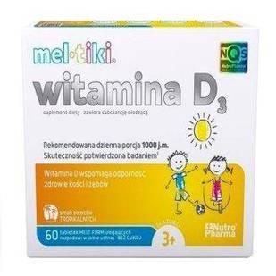 Meltiki витамин D3 1000j.m, аромат тропический, с 3-х лет, 60 пастилок