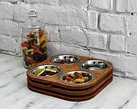 КІТ-ПЕС by smartwood Миски на подставке | Миска-кормушка металлическая для собак щенков  XS - 4 миски, фото 1