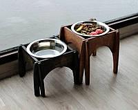 КІТ-ПЕС by smartwood Мискa на подставке | Миска-кормушка металлическая для собак щенков - 1 миска 750 мл, фото 1