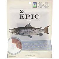 ОРИГІНАЛ!Рибні снеки Epic Bar,Ніжний копчений лосось,глазурований кленовим сиропом,71 грам виробництва США