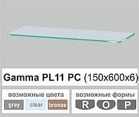Поличка зі скла настінна навісна прямокутна Commus PL11 PC (150х600х6мм), фото 1