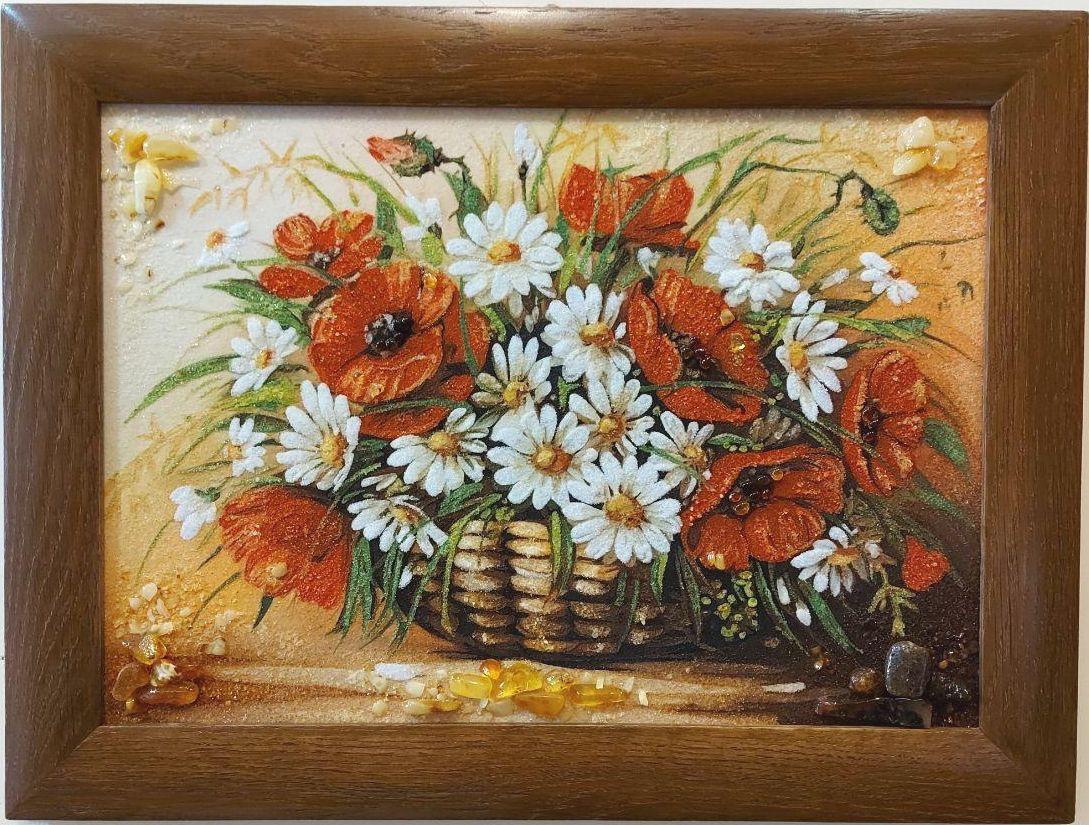 Натюрморт Маки с ромашками в корзине Н-208 Гранд Презент 30*40