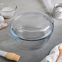 Стеклянная кастрюля с крышкой из жаропрочного стекла Pasabahce Borcam 800 мл (59033)
