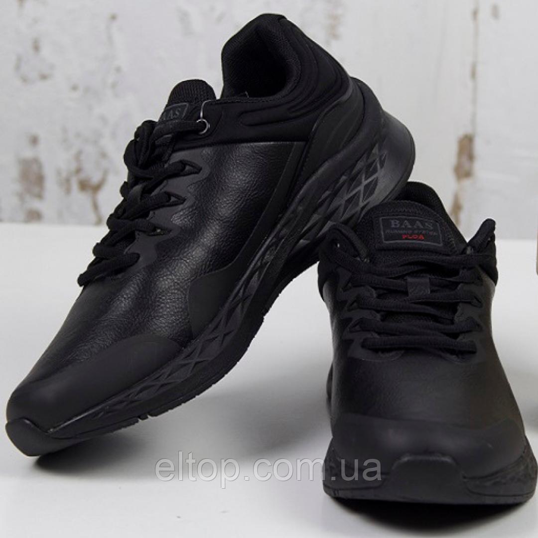 Повседневные мужские кроссовки демисезонные черные BaaS Модель М986-1 Размер 41-46