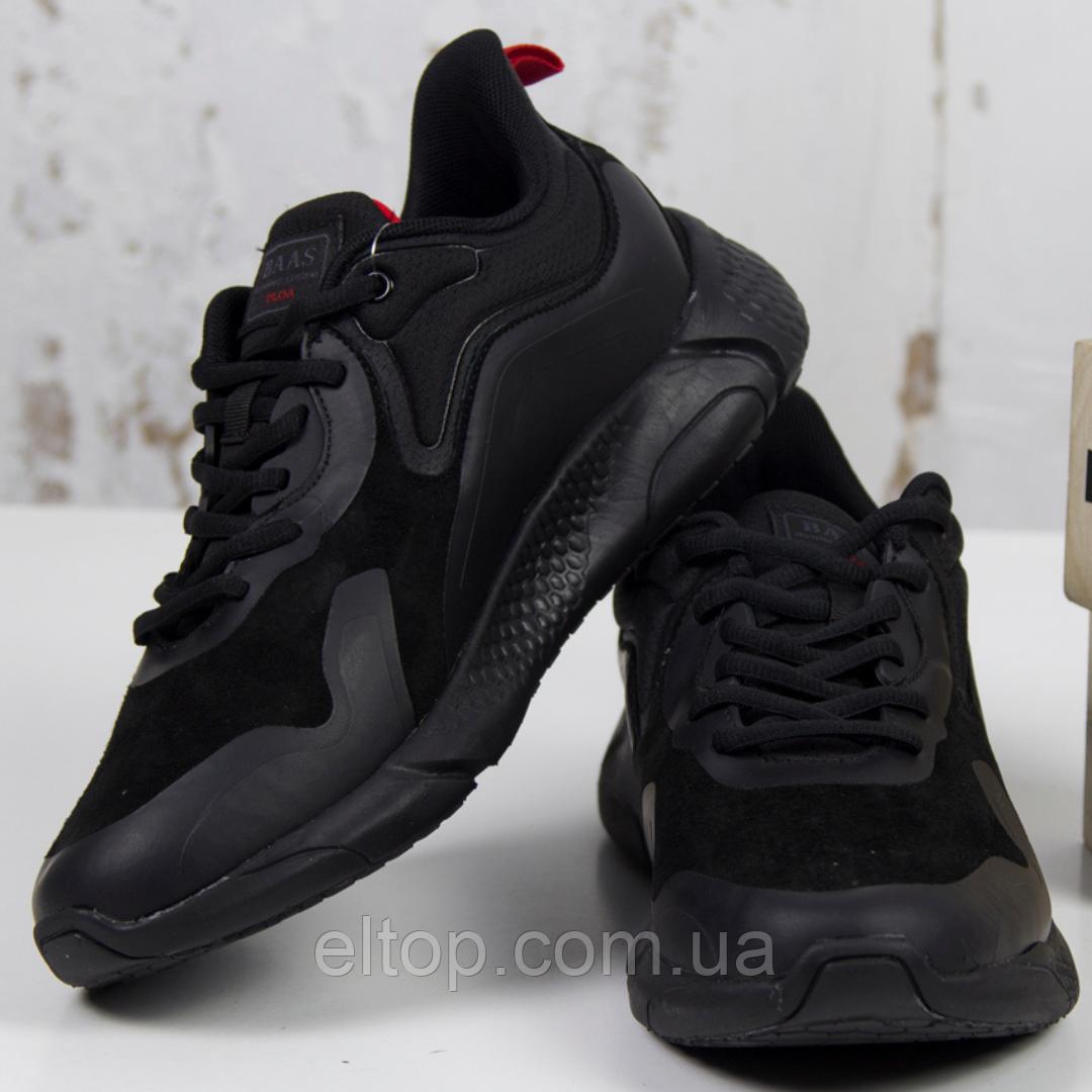 Стильные кроссовки мужские замшевые черные осень весна BaaS модель M7015-11 Размер 41 - 46