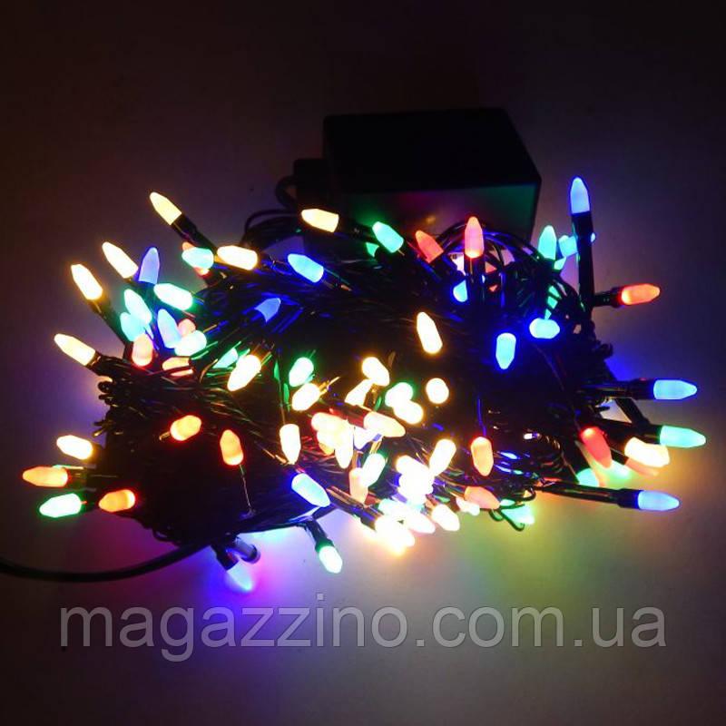 Гирлянда нить светодиодная Конус 100 LED, Мультицветная, черный провод, 6м.