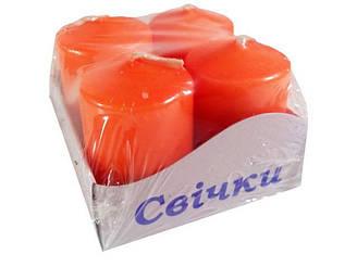 Свечи цветные 55мм д37мм Оранжевая уп/4 штуки