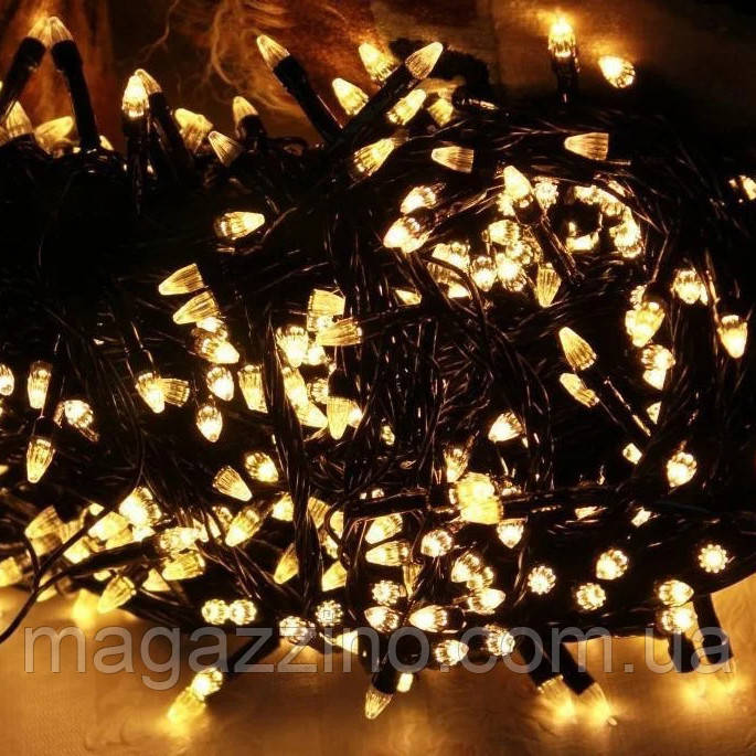 Гирлянда нить светодиодная Конус 200 LED, Золотая (Желтая), черный провод, 10м.