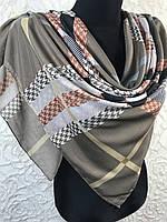 Хлопковый бежевый платок в клетку Турция - купить на Kosinka.net
