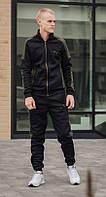 Зимний мужской спортивный костюм с лампасами Puma, Теплые спортивные костюмы на флисе S-XХL Черный с хаки