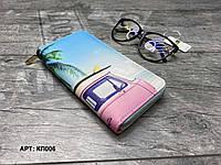 Кошелек органайзер на молнии компактный КЛ006 Розовый автомобиль, фото 1