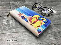 Кошелек органайзер на молнии компактный Кот в очках КЛ019 Капці на сонці, фото 1
