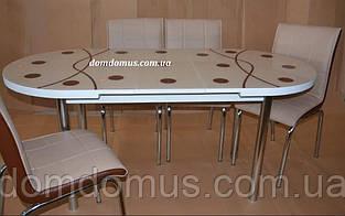 """Комплект обідній меблів """"Капучіно"""" (стіл овальний ДСП, гартоване скло + 4 стільця) Mobilgen, Туреччина"""