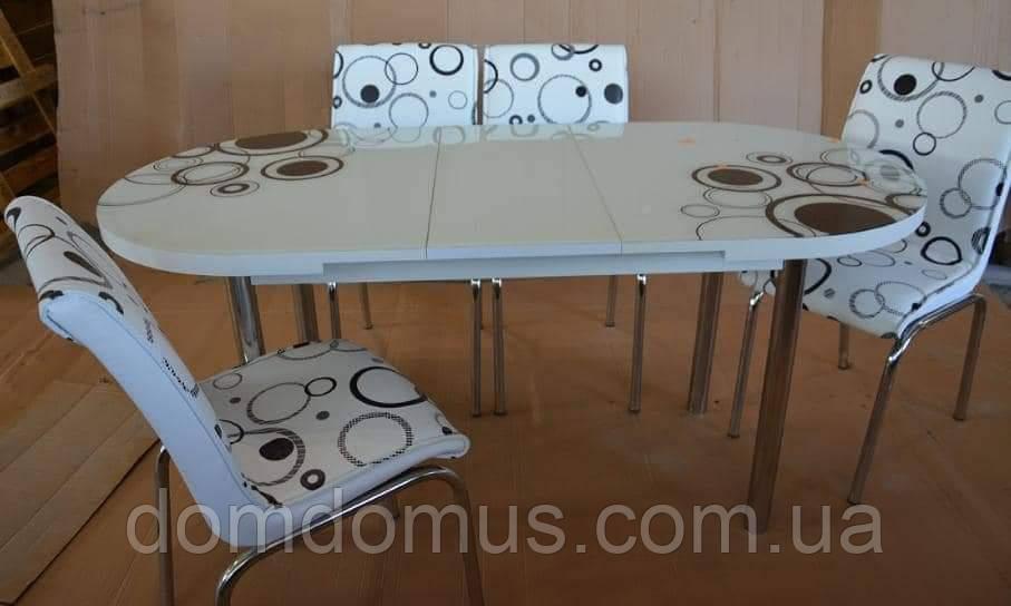 """Комплект обідній меблів """"Елипс (стіл овальний ДСП, гартоване скло + 4 стільця) Mobilgen, Туреччина"""