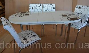 """Комплект обеденной мебели """"Элипс (стол  овальный ДСП, каленное стекло + 4 стула) Mobilgen, Турция"""