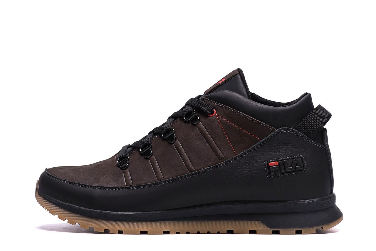 Мужские  зимние кожаные кроссовки  Fila Brown Classic р. 44