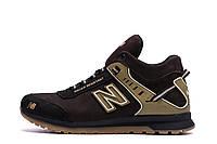 Мужские зимние кожаные кроссовки NB Clasic Brown р. 40  44 45, фото 1