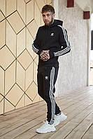 Теплый мужской унисекс спортивный костюм Adidas черного цвета, худи + штаны, в стиле Адидас