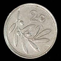 Монета Мальты 2 цента 1991 г. Оливковая ветвь, фото 1