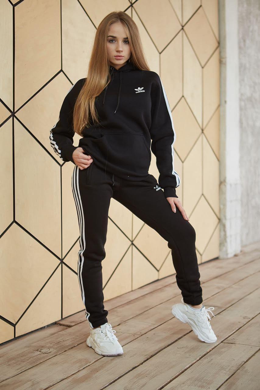 Теплый женский спортивный костюм Adidas черного цвета, худи + штаны, в стиле Адидас