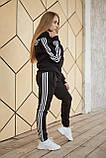 Теплый женский спортивный костюм Adidas черного цвета, худи + штаны, в стиле Адидас, фото 2