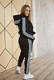 Теплый женский спортивный костюм Adidas черного цвета, худи + штаны, в стиле Адидас, фото 3