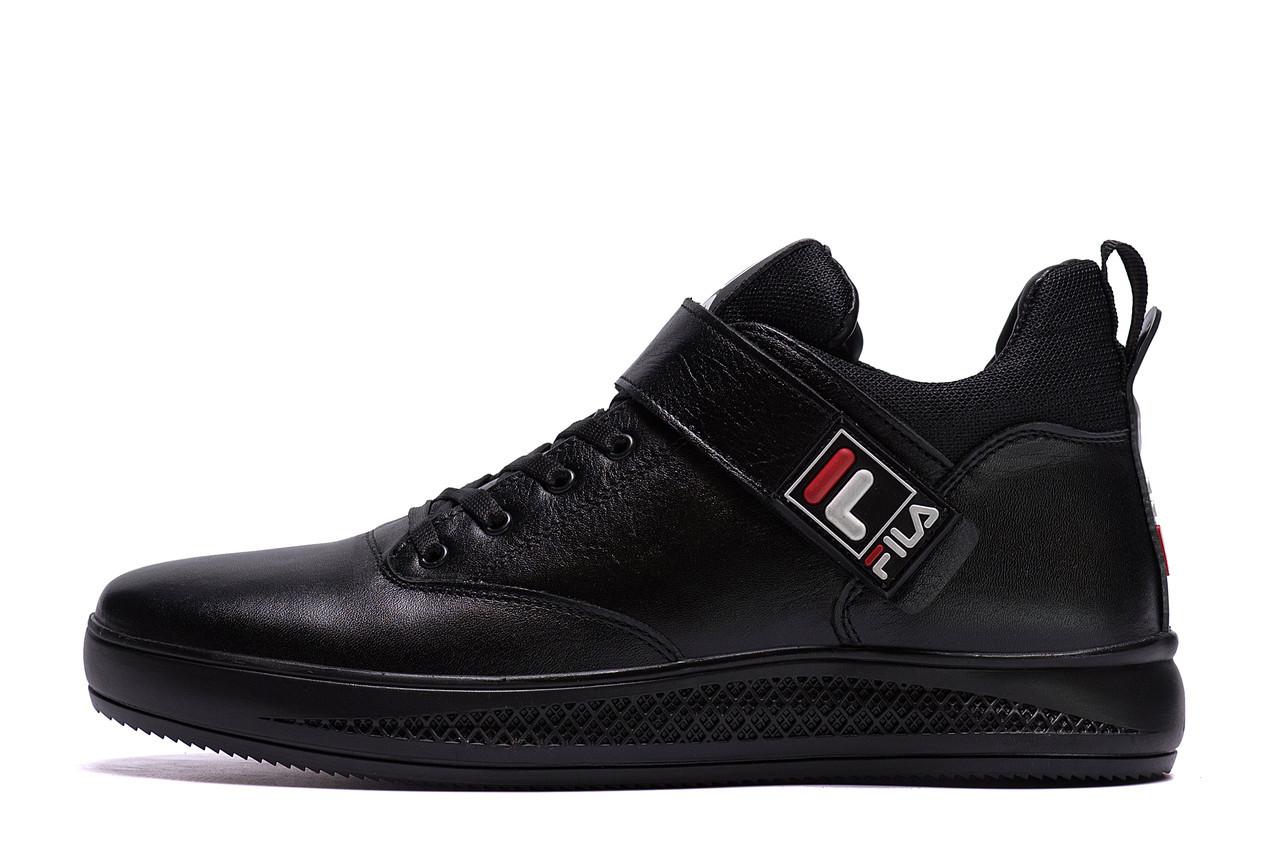 Чоловічі зимові шкіряні черевики FILA Black р.