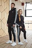 Теплый унисекс спортивный костюм Adidas черного цвета, худи + штаны, в стиле Адидас, мужской и женский