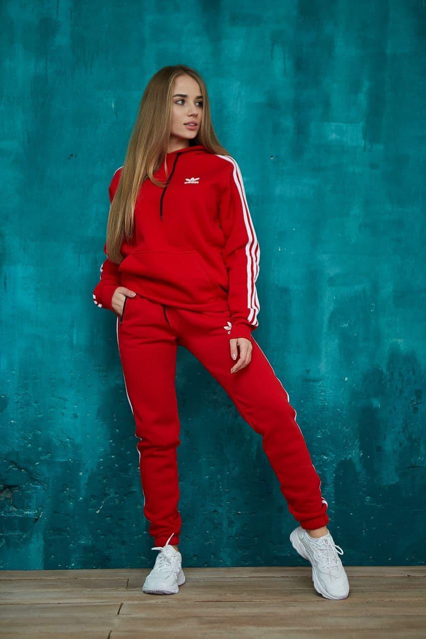 Теплый женский унисекс спортивный костюм Adidas красного цвета, худи + штаны, в стиле Адидас