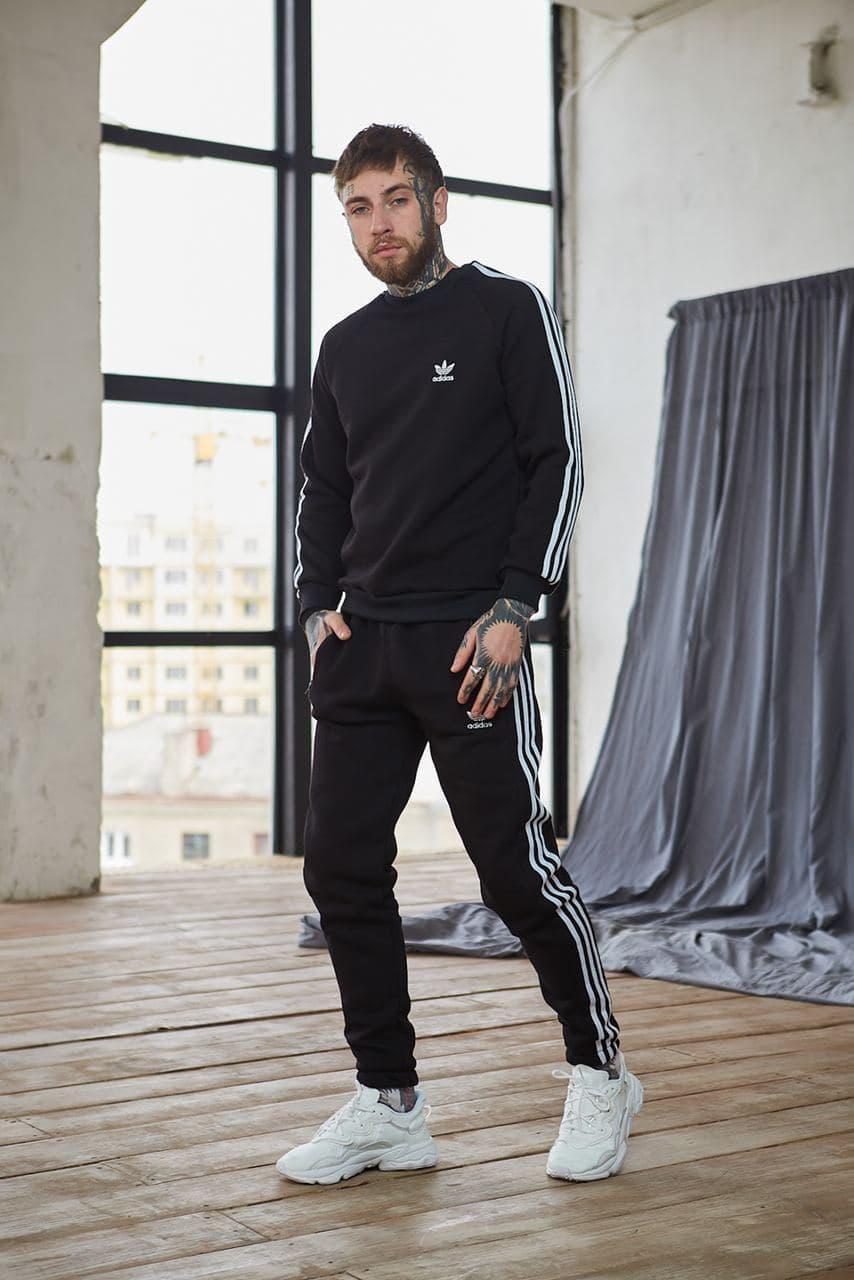 Теплый мужской унисекс спортивный костюм Adidas черного цвета, свитшот + штаны, в стиле Адидас
