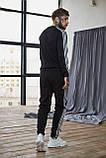 Теплый мужской унисекс спортивный костюм Adidas черного цвета, свитшот + штаны, в стиле Адидас, фото 2