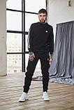 Теплый мужской унисекс спортивный костюм Adidas черного цвета, свитшот + штаны, в стиле Адидас, фото 5