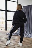 Теплый женский унисекс спортивный костюм Adidas черного цвета, свитшот + штаны, в стиле Адидас, фото 5
