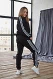 Теплый женский унисекс спортивный костюм Adidas черного цвета, свитшот + штаны, в стиле Адидас, фото 4