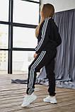 Теплый женский унисекс спортивный костюм Adidas черного цвета, свитшот + штаны, в стиле Адидас, фото 6