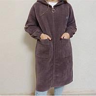 Женский кардиган из Альпаки батал, удлиненное пальто из альпака, модный кардиган, красивое пальто на молнии