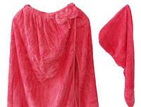Рушник - халат жіночий + чалма мікрофібра для сауни лазні 145*75 Кораловий