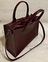 77-2 Натуральная кожа Женская сумка бордовая формат А4 Женская сумка кожаная марсала натуральная вишневая, фото 3