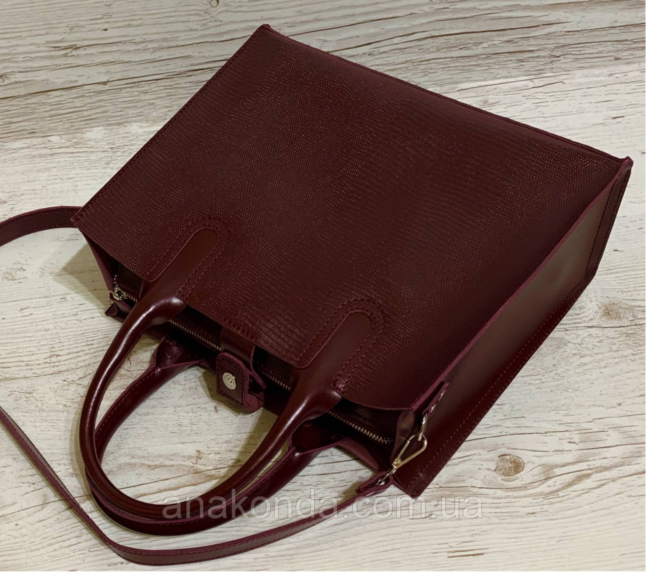 77-2 Натуральная кожа Женская сумка бордовая формат А4 Женская сумка кожаная марсала натуральная вишневая