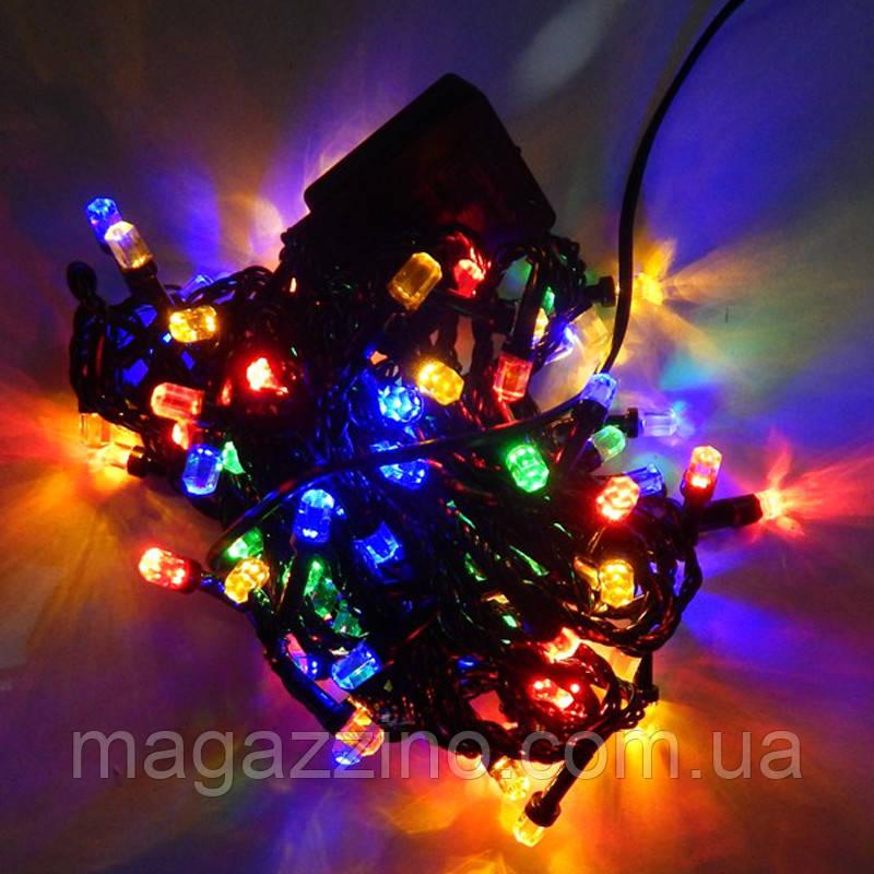 Гирлянда нить светодиодная Кристалл 400 LED, Мультицветная, черный провод, 16м.