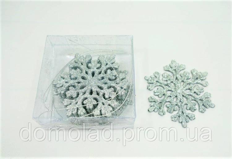 Снежинка Серебро Новогоднее Украшение На Елку с Блестками для Декора 10 см в Упаковке 12 шт