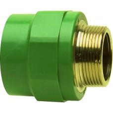 "Соединитель PP-R, Н, D=20мм x 3/4"", зеленый"
