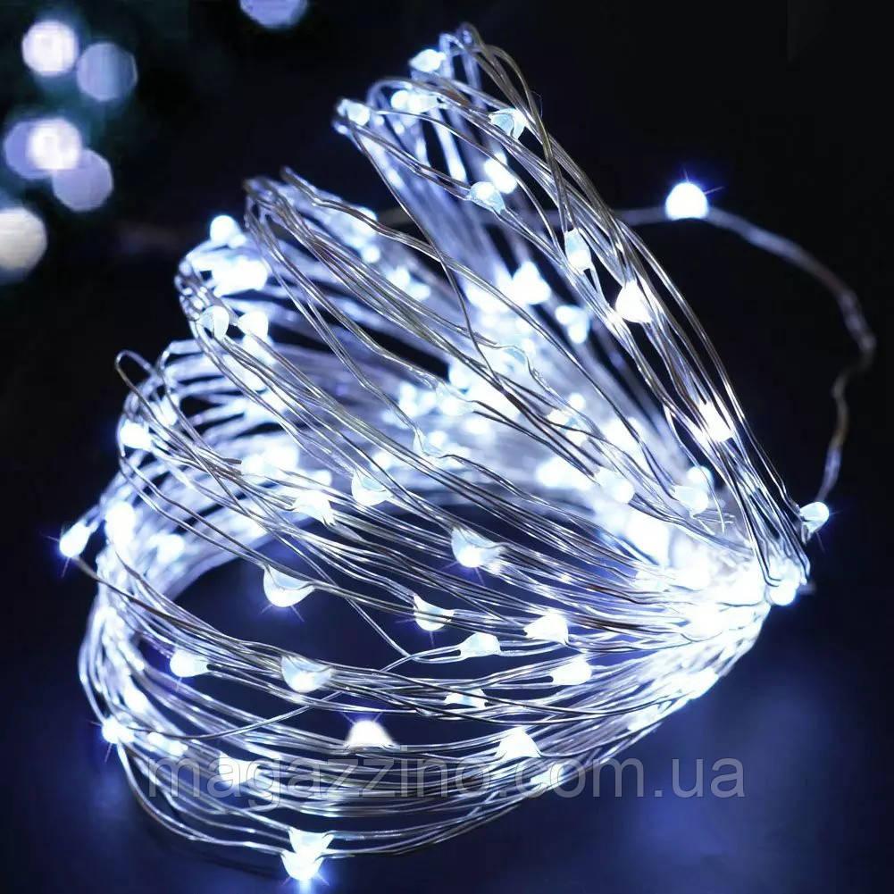 Гирлянда нить светодиодная Капли Росы 100 LED, Белая, проволока, на батарейках, 10м.